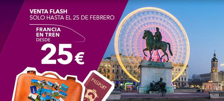 VENTA FLASH. Hasta el 25 de febrero Francia en tren desde 25€