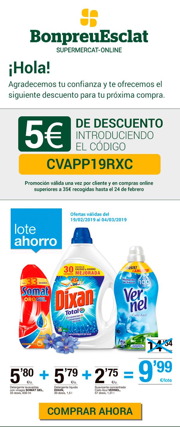 5€ descuento en compras de 35€ en BonpreuEsclat online