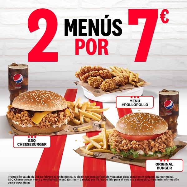 2 menús de auténtico pollo por 7€