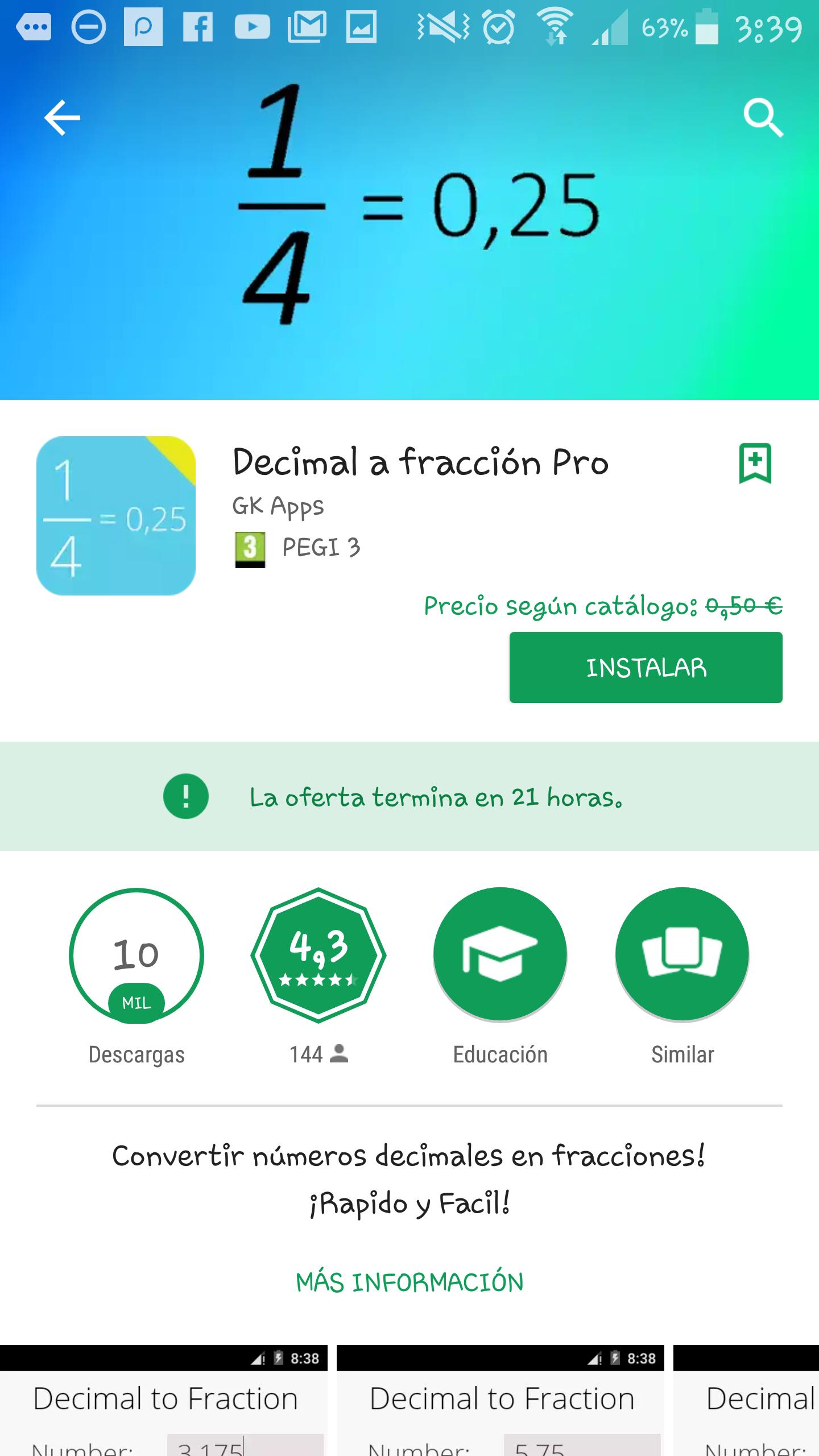 """APP GRATIS  """" DECIMAL A FRACCIÓN pro """""""