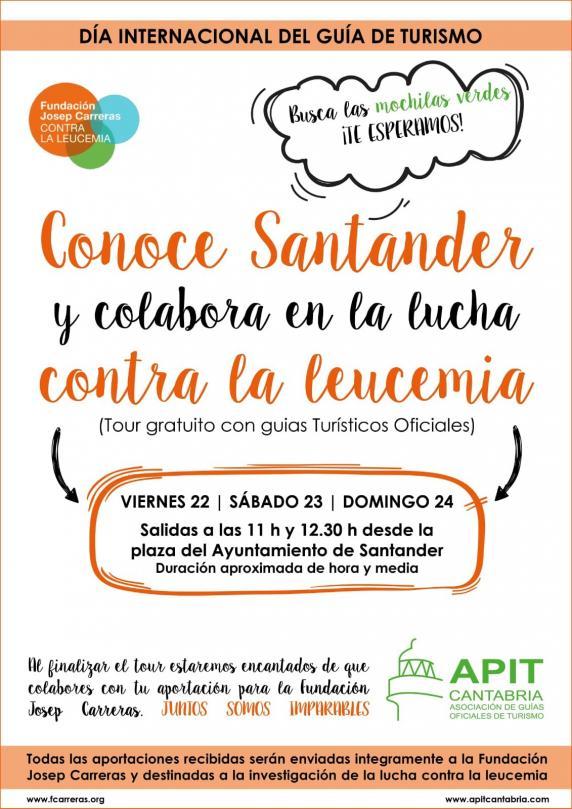 Visitas oficiales GRATUITAS contra la Leucemia día internacional del guía turístico en Santander