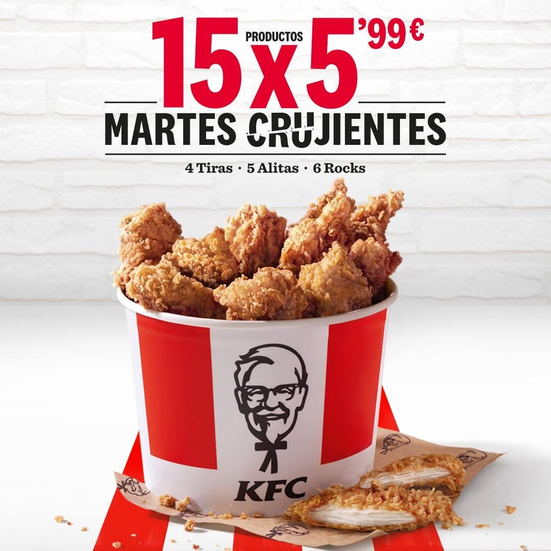 Martes en KFC: Cubo 15 piezas x 5.99€