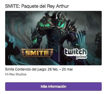 Twitch Prime SMITE: Paquete del Rey Arthur