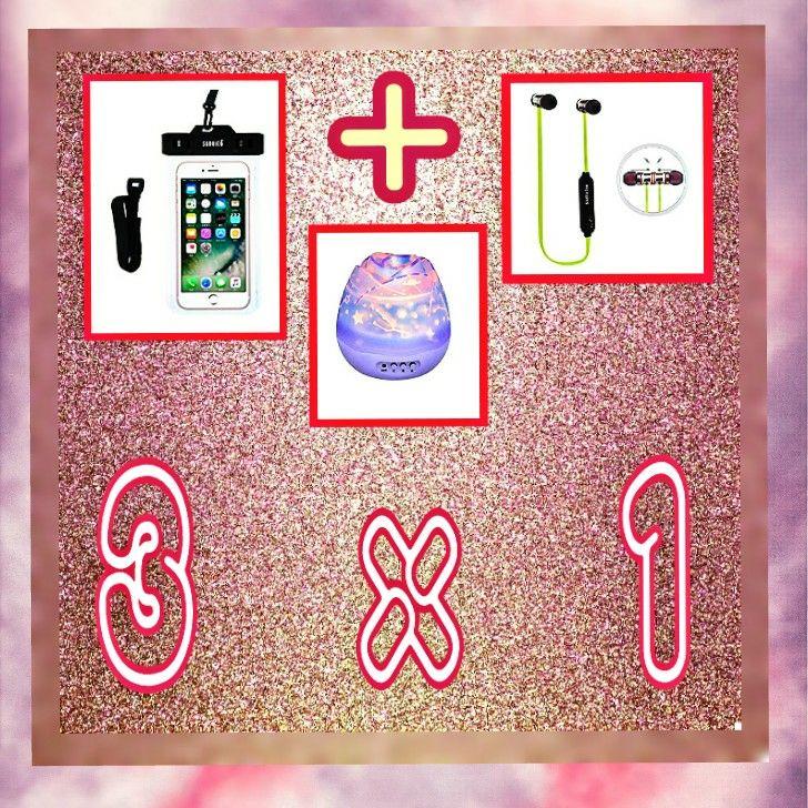 3  x  1 AURICULARES  +  FUNDA  +   LÁMPARA