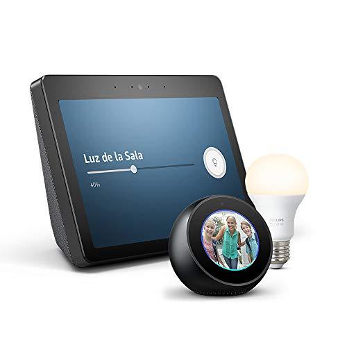 Echo Show (2.ª generación) + Bombilla Philips Hue White LED E27 + Echo Spot
