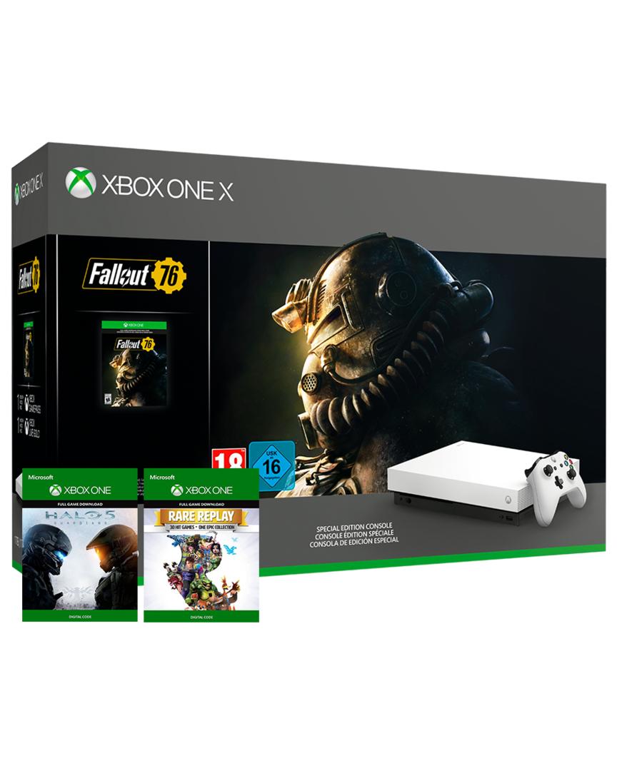 Xbox One X Blanca 1TB + 4 Juegos + auriculares + camiseta solo 439,9€