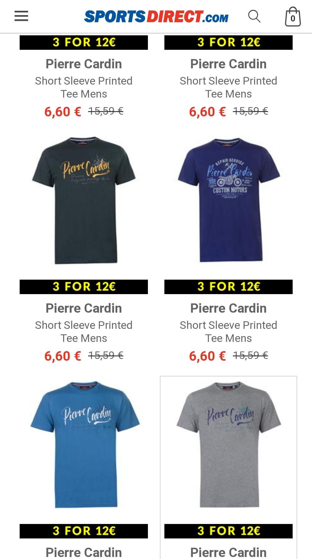 Tres Camisetas por 12 euros + Envio. Sports Direct