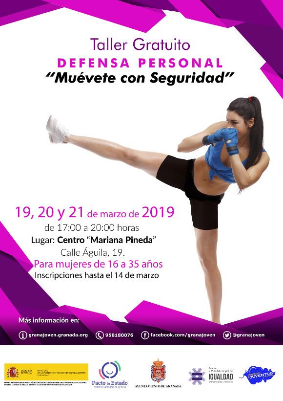 """Taller gratuito de defensa personal en Granada para mujeres. """"Muévete con seguridad"""" 19, 20 y 21 de marzo de 2019"""