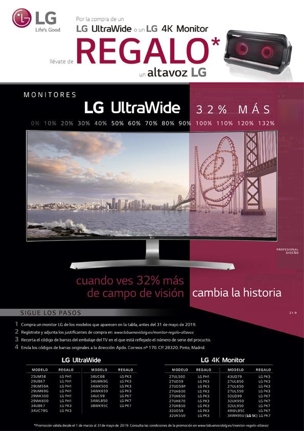Compras un monitor LG y llévate de regalo un altavoz (LG PH1, PK7 o PK3)