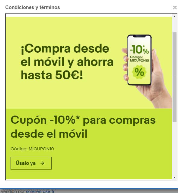 DESCUENTO 10% EBAY - COMPRA POR MOVIL - SELECCIONADAS
