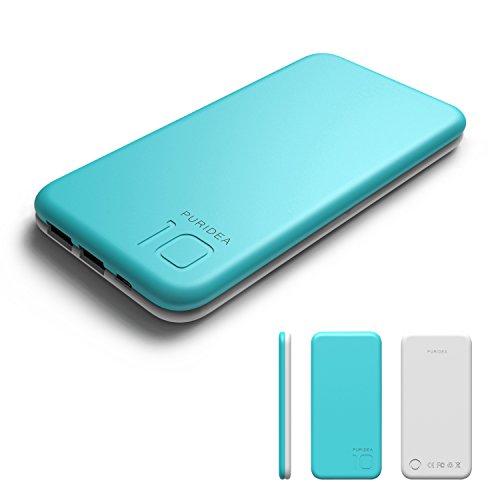 10000 mAh Batería Externa,2 Puertos Puridea Power Bank con LED-indicación del estado,Cargador Portátil para iPhone X 8 7 6 Puls , iPad, Samsung y Otros Dispositivos (Azul)
