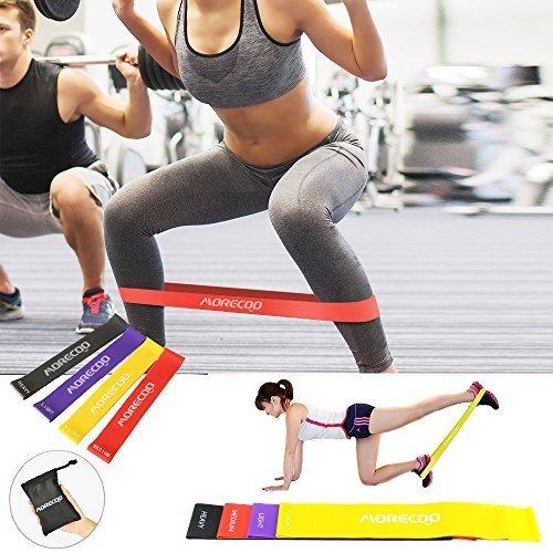 Bandas elásticas,MORECOO Paquete de 4 bandas de ejercicio Set de Bandas de Resistencia perfecta para hacer Yoga, Pilates,Rehabilitación Mejora la movilidad y otros ejercicios. (4 Bandas)