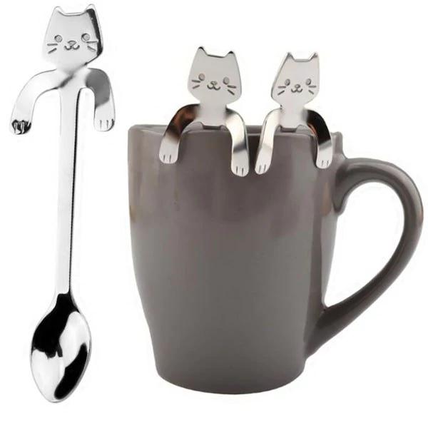 Cuchara de acero inoxidable (gatito agarrado)
