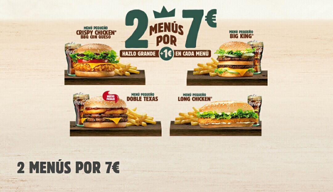 2 menús por 7€ en Burger King
