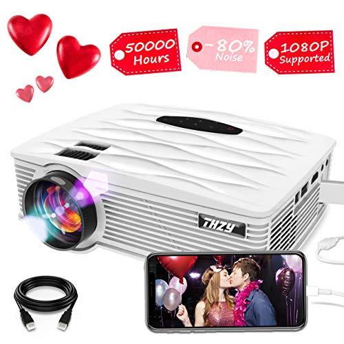 THZY Proyector Mini Vídeo Portatil Proyector HD LED 2200 Lúmenes,