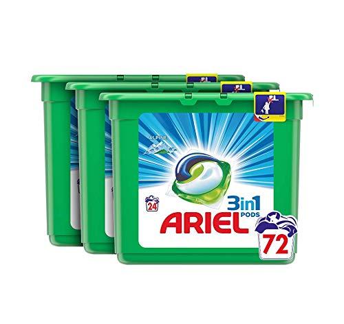 Ariel 3 en 1 Pods Detergente Cápsulas - 72 Lavados