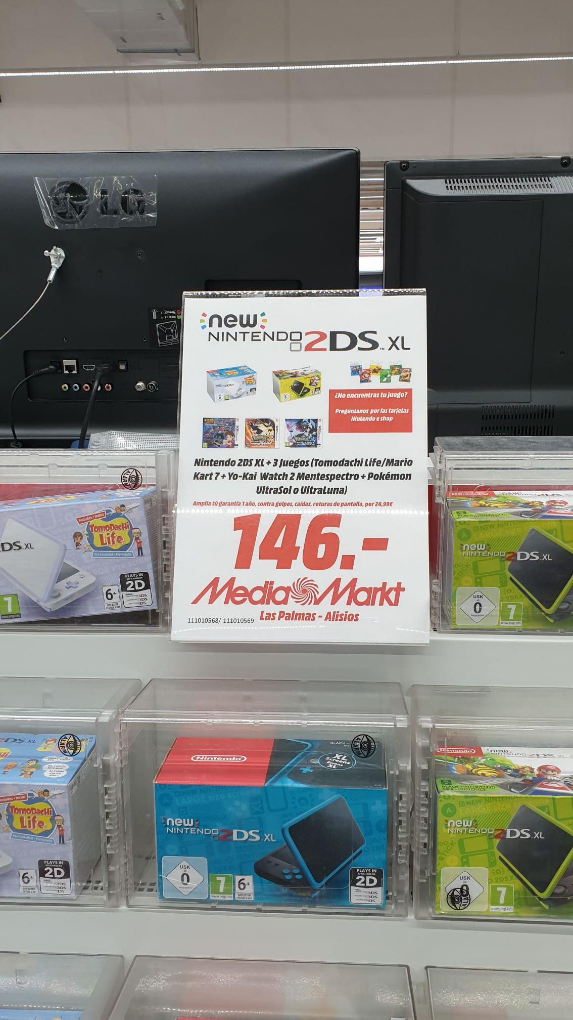New Nintendo 2DS XL + 3 juegos (Media Markt Los Alisios - Las Palmas)