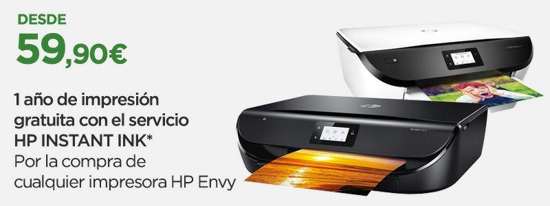 Impresoras HP Envy + 1 año de impresión gratuita (hasta 300 páginas al mes)