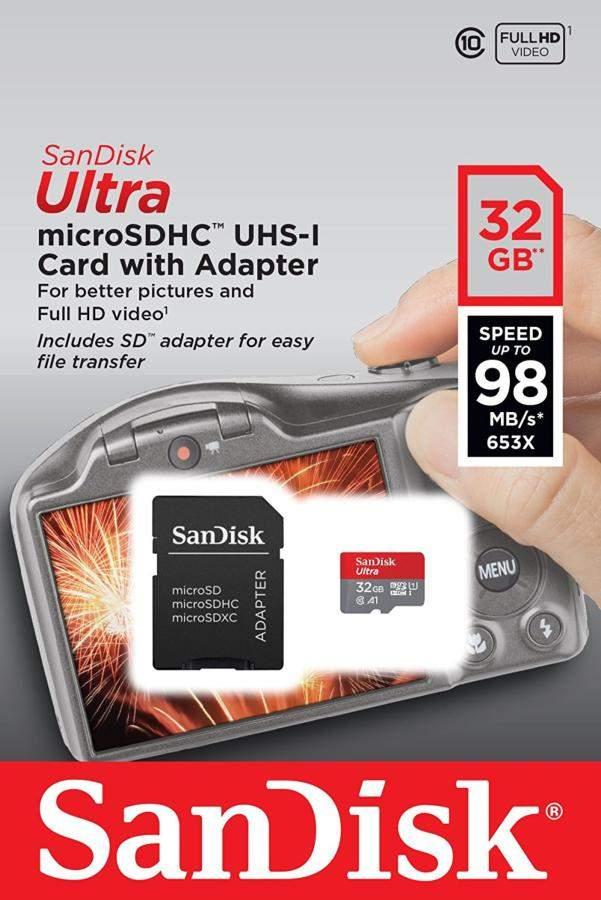 Tarjeta Micro SD - Sandisk Ultra, 32 GB, Velocidad hasta 98 MB/s, Clase 10, U1, A1
