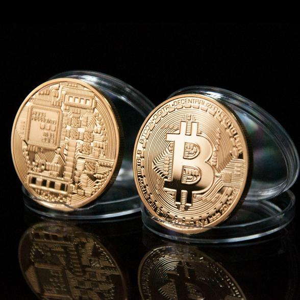 Moneda Bitcoin réplica física