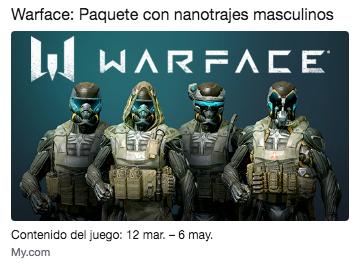 Twitch Prime Warface: Paquete con nanotrajes masculinos