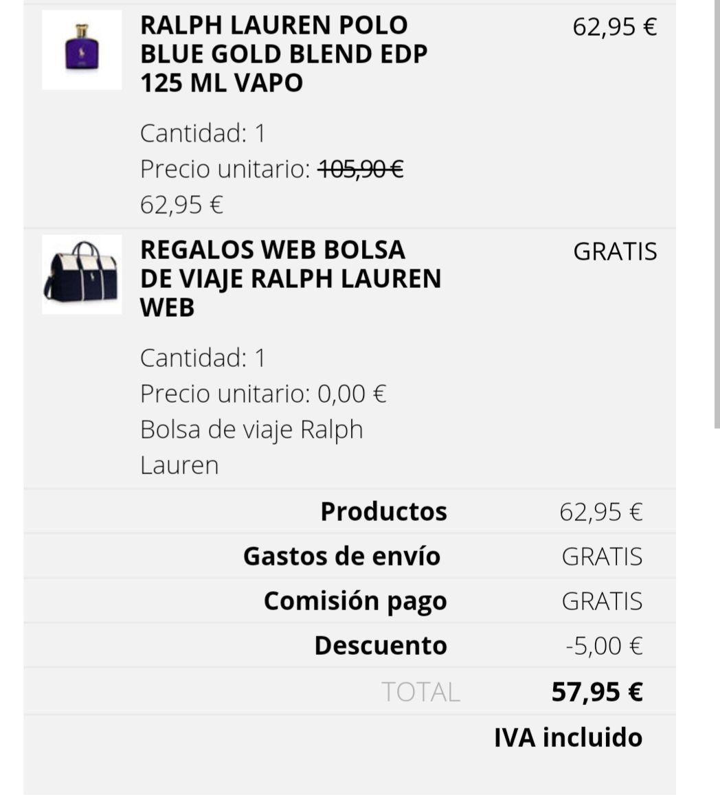 Colonia Polo Ralph Lauren y mochila gratis Ralph Lauren