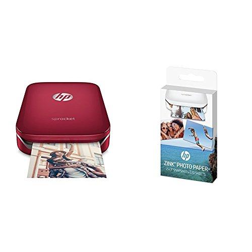 Sprocket San Valentín: HP Sprocket - Impresora fotográfica portátil roja + 3 packs de 20 hojas de papel fotográfico adhesivo