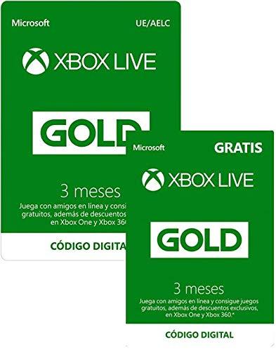 Tarjeta Membresa Xbox Live Gold - 3 Meses + 3 Meses GRATIS | Xbox Live