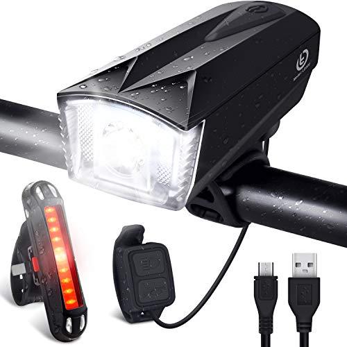 Luz bicicleta, bocina y luz trasera led recargable