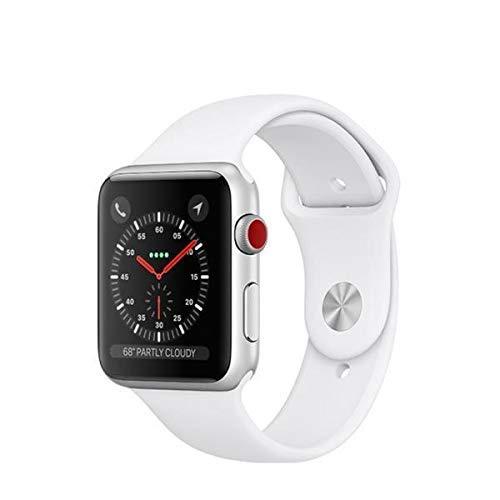 Apple Watch Series 3 (GPS + Cellular) con caja de 42 mm de aluminio en plata y correa deportiva blanca