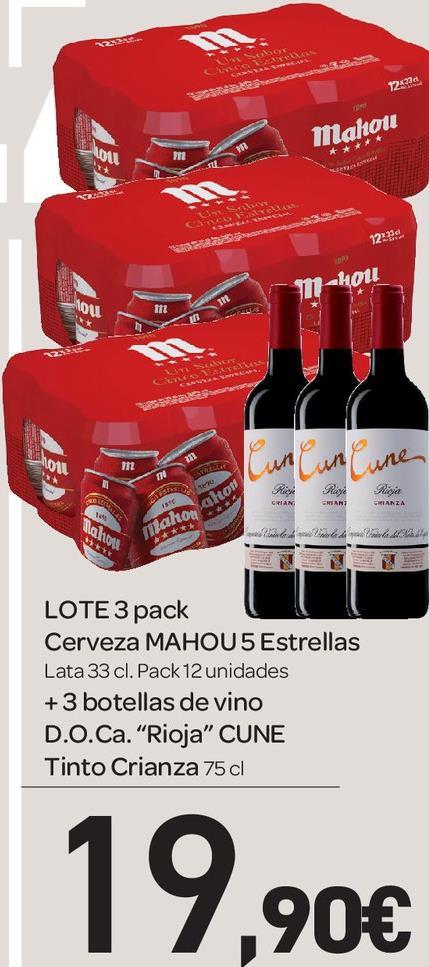 Gratis 3 botellas de vino CUNE con 3 packs de 12 unds de Cerveza Mahou Especial