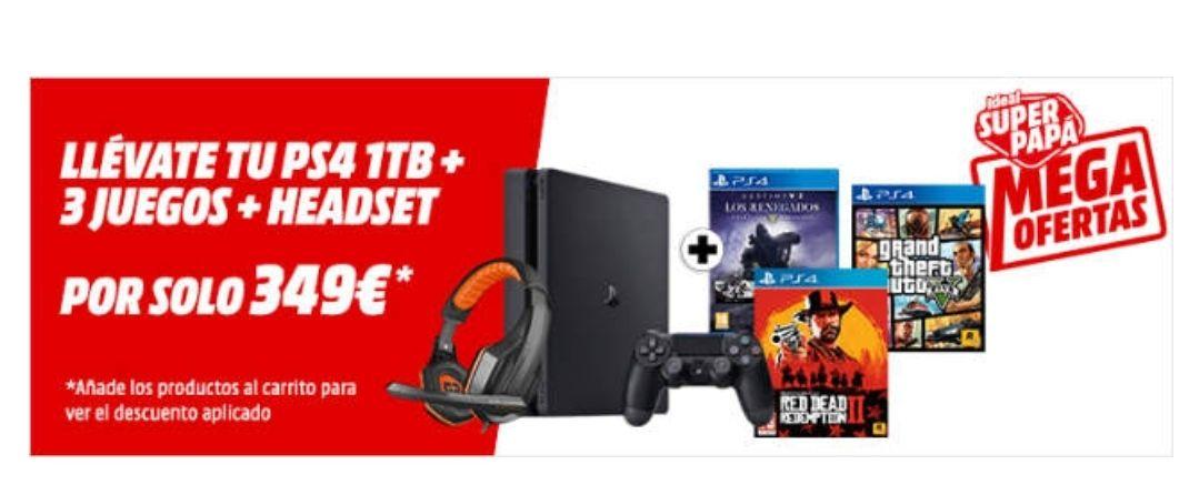 PS4 Slim de 1tb+3 juegos+auriculares gaming