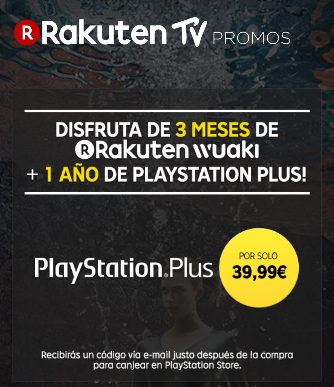 1 Año PlayStation Plus y 3 Meses Rakuten Wuaki