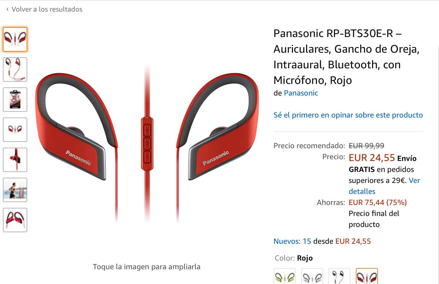 Auriculares bluetooth Panasonic por 24,55