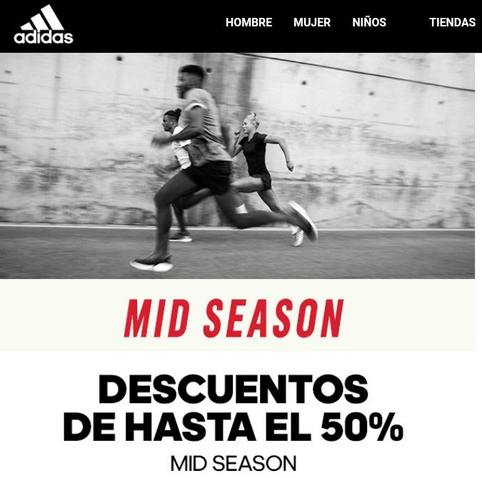 Mid season de Adidas con descuentos de hasta el 50%