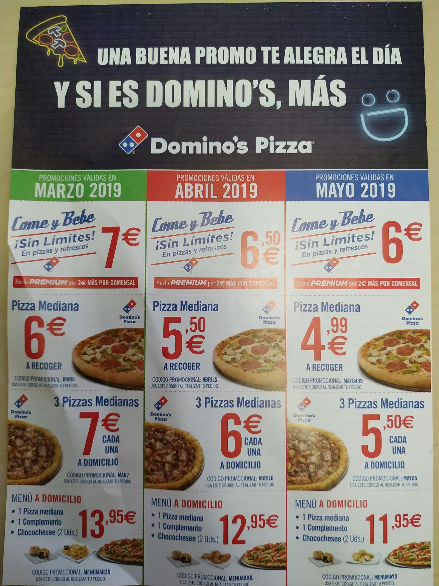 Promociones Domino's para marzo, abril y mayo 2019