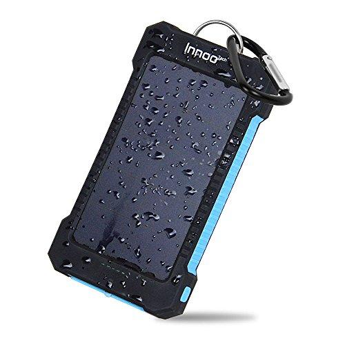 Innoo Tech 10000 mAh Cargador Solar Portátil Impermeable Batería Externa 2 Puertos USB Panel Solar Alta Conversión Inteligente Compatible con iphone, Android, Tablet y Otros Dispositivos, etc