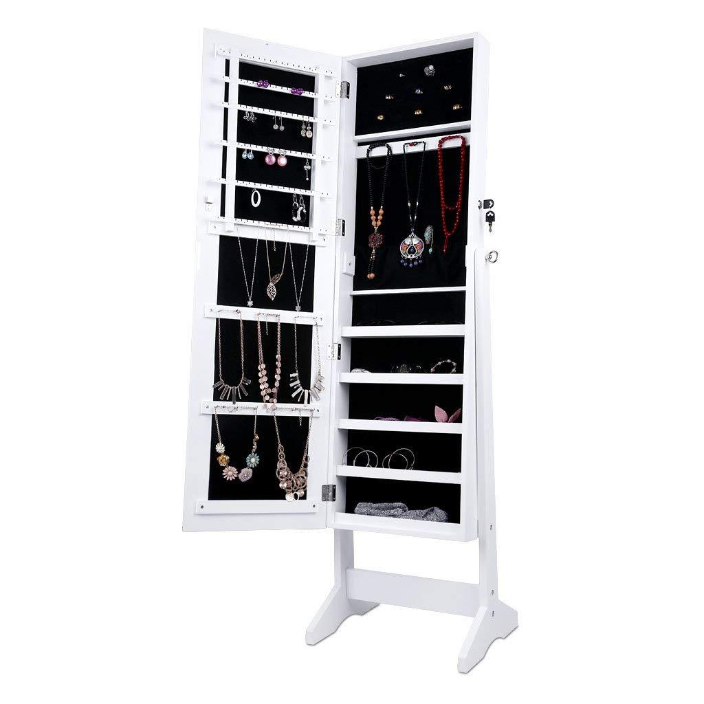 (AMAZON PRIME)Espejo Joyero, Armario para Joyas, Lacado Blanco y Terciopelo Negro Interior