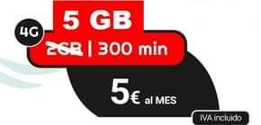 5 GB + 300 min por 5€