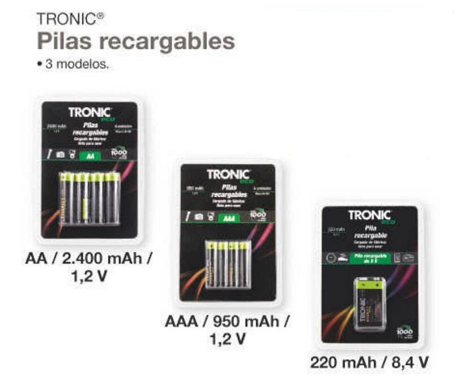 Pilas recargables AA - AAA - 9v.