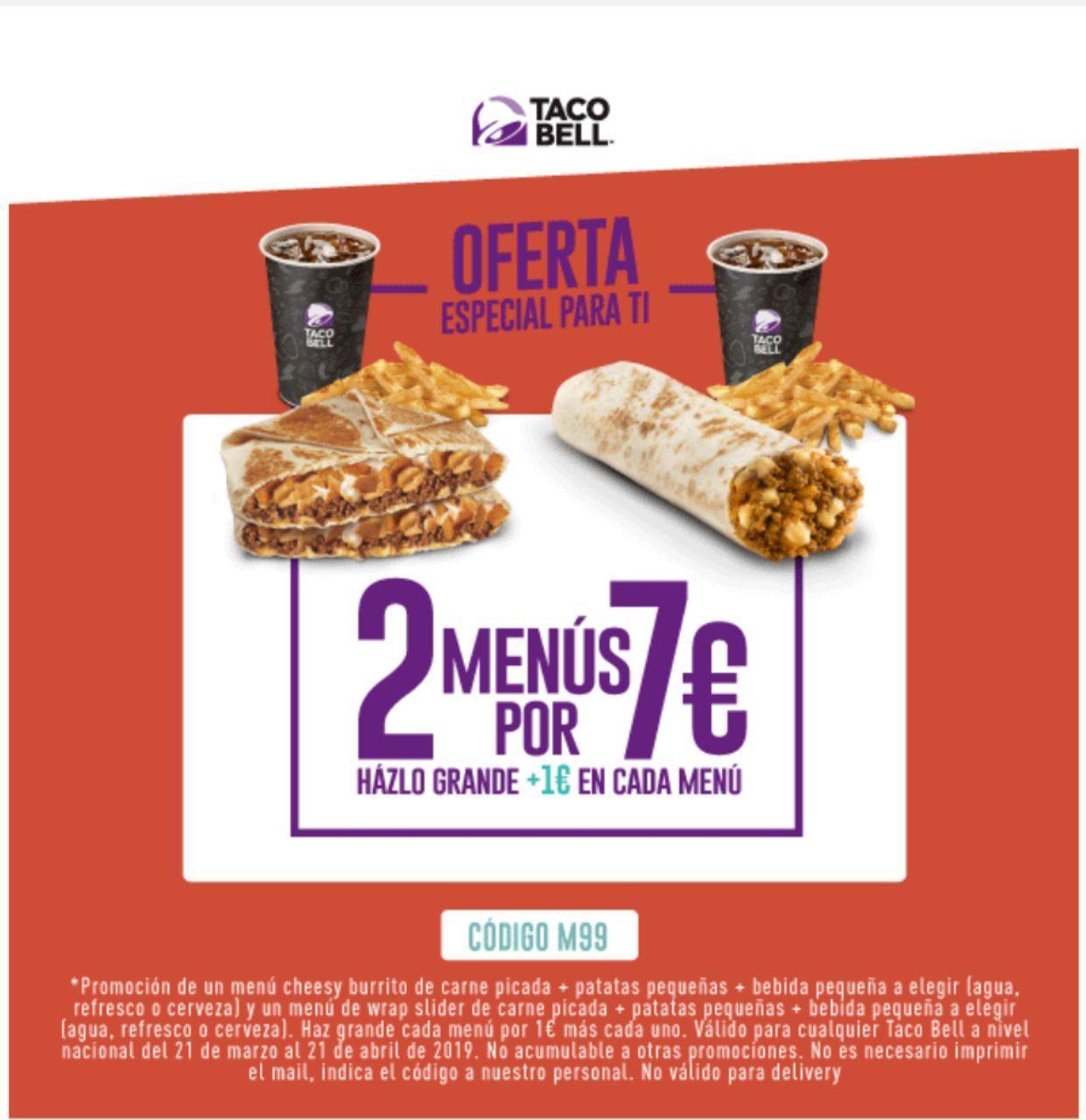 Taco Bell-Dos menús por 7€