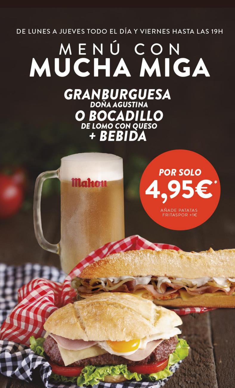 Menú hamburguesa/bocadillo + bebida en Don G