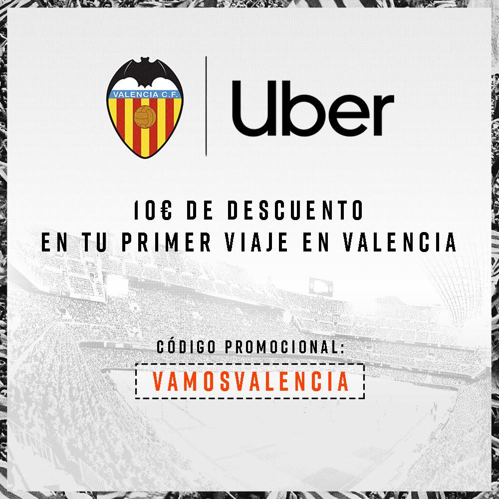 10€ de descuento en Uber gracias al Valencia C.F. (Nuevos usuarios, solo en Valencia)
