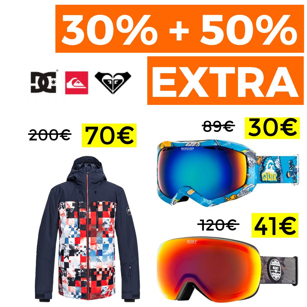 30% + 50% EXTRA en Snow Quiksilver, DC y Roxy