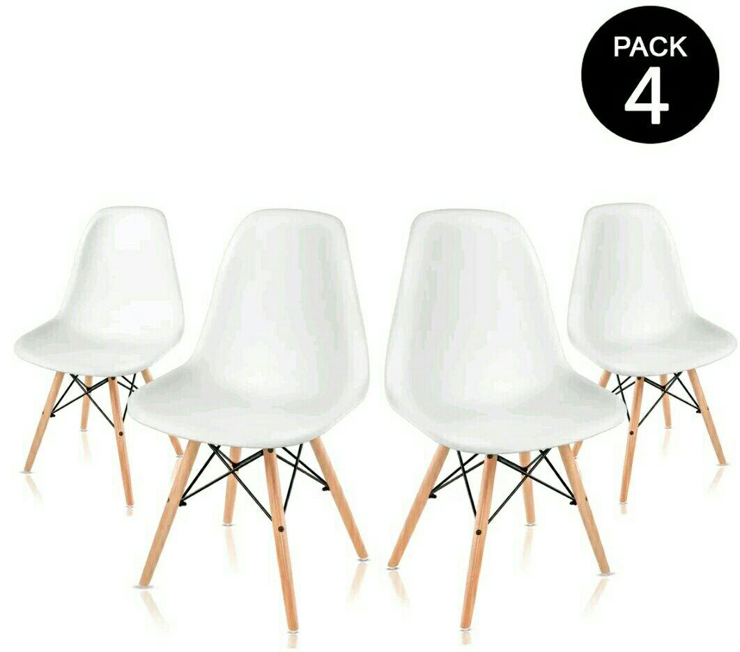 PREZIAKO!!! McHaus - Pack x4 sillas Sena blancas diseño ...