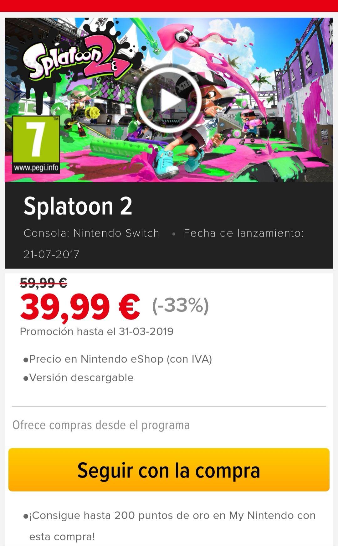 Splatoon 2 Formato Digital