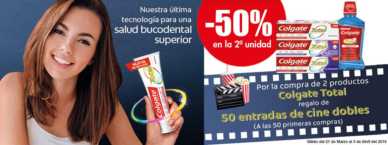 Dos entradas de cine GRATIS comprando dos productos colgate total Clarel