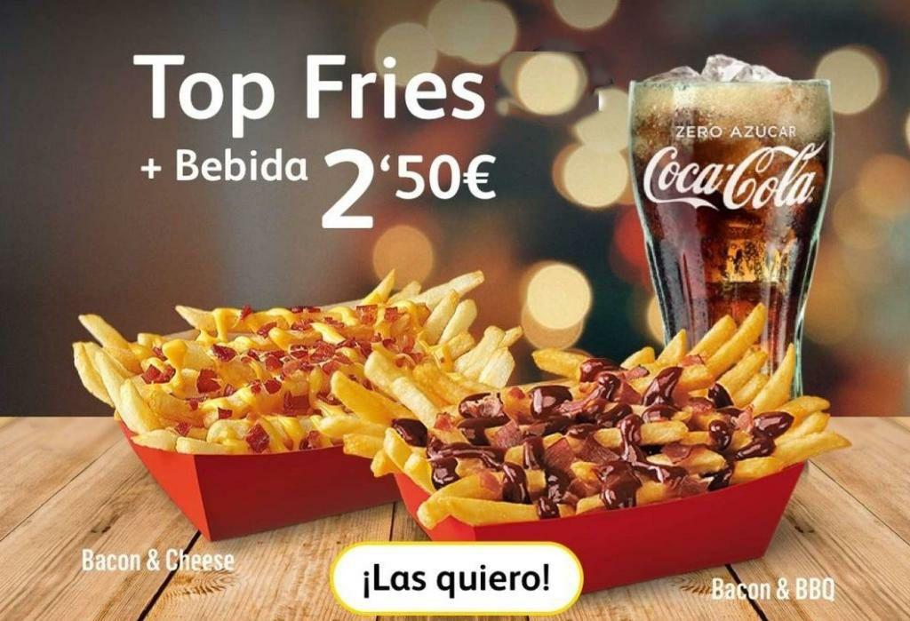 Top fries a elegir + bebida