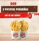 2 de patatas fritas por 0,99€ en Burguer king