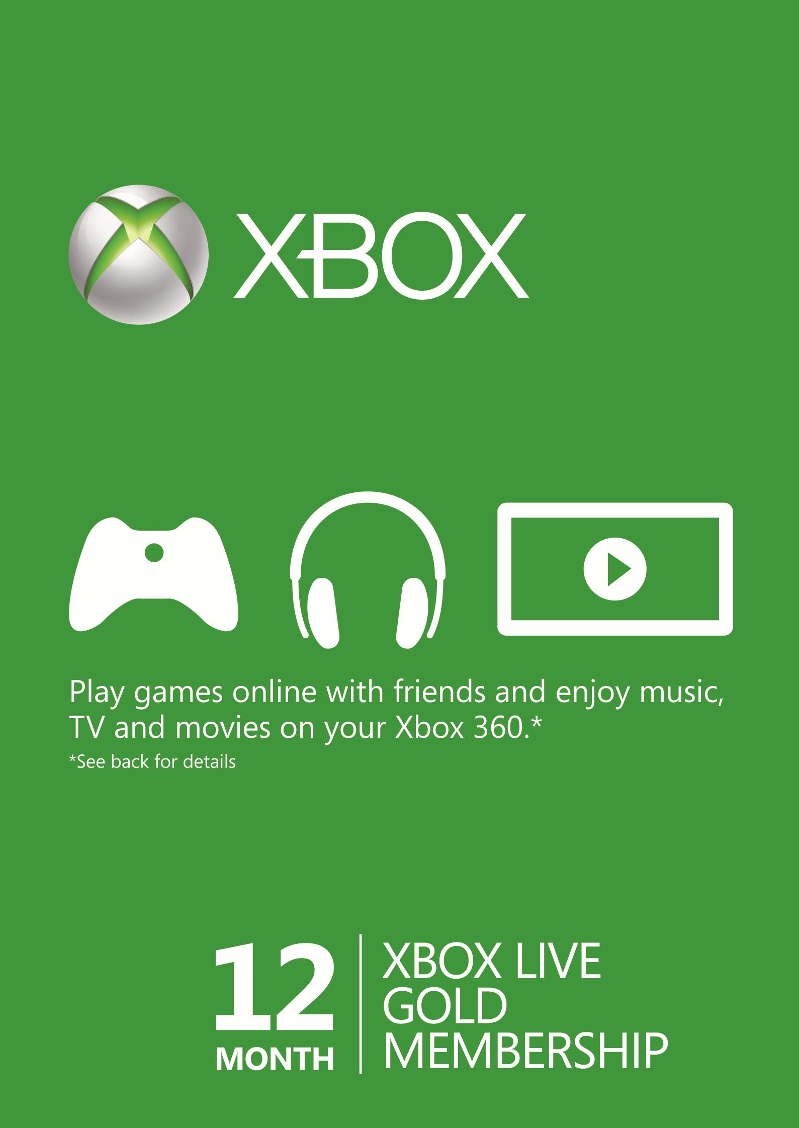 12 Meses Xbox Live Gold (Xbox One/360) - (EU)